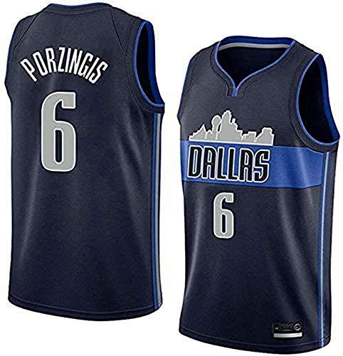 WHYYT Kristaps Porziņģis Camisetas de la NBA - Dallas Mavericks # 6 Camiseta de Baloncesto de los Hombres, Bordado Transpirable Chaleco sin Mangas,XXL(185~190CM/ 95~110KG)