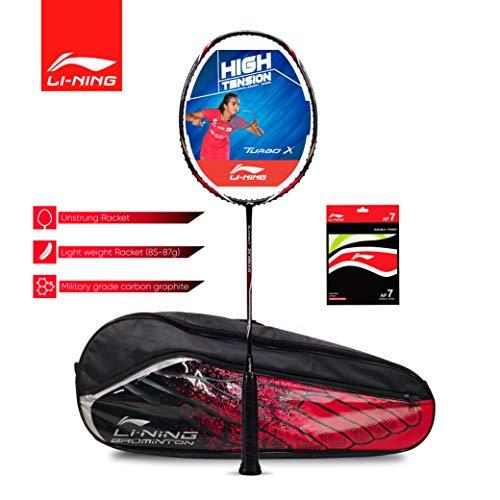 Li-Ning Turbo X 90-II (AYPM088-4) Carbon-Graphite Badminton Racquet (Black/Grey) with String & Bag