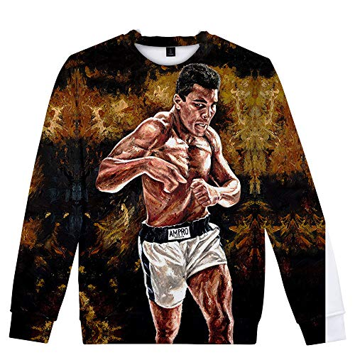 Muhammad Ali Pullover Casual Crewneck 3D Langarm Pullover Personalisieren Sweatshirt Digital Printing Tops Unisex (Color : A07, Size : Height-170cm(Tag M))
