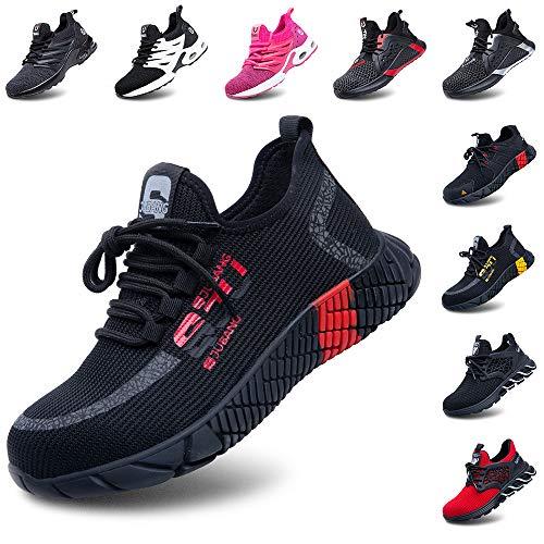 Zapatos de Seguridad Hombre Mujer Ligeros Calzado Zapatillas de Trabajo con Punta de Acero Deportivo Comodo Unisex Rojo Talla 43