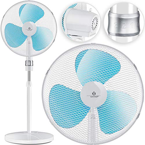 KESSER® - Standventilator 50W Standlüfter - Oszillationsfunktion 80 Grad - Standfuß höhenverstellbar Ventilator 104-122cm - hoher Luftdurchsatz - 3 Geschwindigkeitsstufen - leise, Weiß
