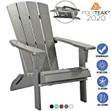 PolyTEAK Modern Oversized Folding Poly Adirondack Chair | Adult-Size, Weather Resistant, Made from Special Formulated Poly Lumber Plastic (Matte Gray)
