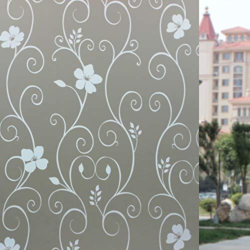 LMKJ Película de Ventana de Flor Blanca, película de vidriera de Colores, Etiqueta de Ventana Decorativa para protección de privacidad baño Familiar A21 30x100cm