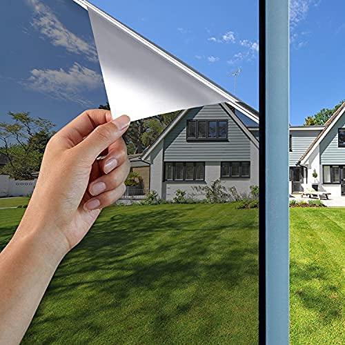 GodUp Spiegelfolie Sonnenschutzfolie Fensterfolien Fenster Selbstklebend Sichtschutzfolie 99%UV-Schutz innen für Büro und Haus Silber (Silber, 45*200CM)