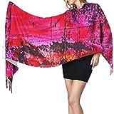 Chal largo y cálido, colorido moderno y contemporáneo, para mujer, diseño de cachemir
