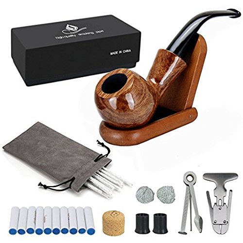 Joyoldelf Rosewood Tobacco Pipe Set with Wooden Stand, Reamer & 3-in-1 Pipe Scraper, 20 Pipe Cleaners & 10 Pipe Filters, 2 Pipe Bits & Metal Balls, Cork Knocker, Pipe Pouch, Bonus a Gift Box