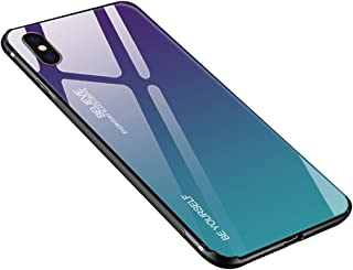 Luhuanx Case Compatible with iPhone X, Tempered Glass Gradient Color Pattern+TPU Frame Hybrid Slim case for iPhone X (2019) Anti-Scratch Anti-Drop