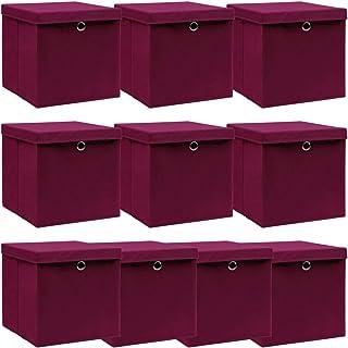Förvaringsorganisation förvaringslådor med lock 10 st mörkröd 32x32x32 cm tyg