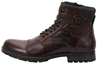 Jack & Jones Jfwalbany Leather Brown Stone STS, Biker Boots Homme