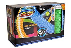 AMAZING GRAVITY DEFYING RACING CAR: This tube racer playset includes a gravity defying racing car and glow tracks that can be pieced together to create an amazing track. The tunnel racer also flexiable assembly system that allows you to easily lock t...