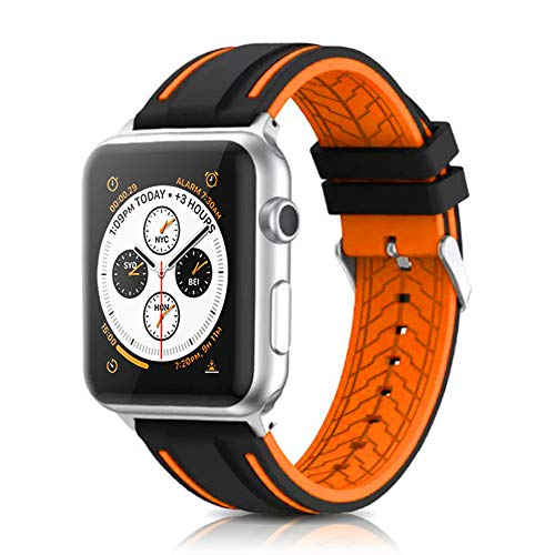 Compatible with Apple Watch Bands 38mm 42mm 40mm 44mm Silicone Divers Model Replacement Rubber Sport Watch Strap for iWatch Series 5 4 3 2 1 Bicolor for Men and Women (Orange, 42mm/44mm)