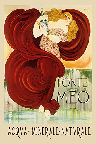 """Natural Sparkling Water Fonte Meo Acqva Minerale Naturale Italy Italia Italian Drink Vintage Poster Repro 16"""" X 22"""" Image Size. We Have Other Sizes Available!"""