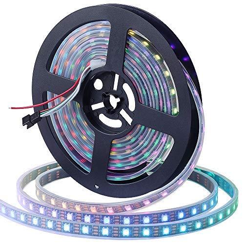 CHINLY 5m WS2812B Individuell adressierbar LED Streifen Licht SMD5050 RGB 300 Pixels Traumfarbe Wasserdicht IP67 Schwarz PCB 5V DC