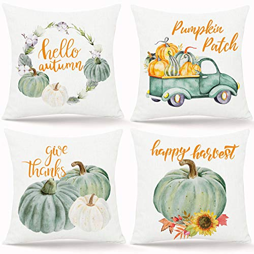 Whaline 4 Pieces Fall Pillow Covers Green Pumpkin Throw Cushion Cover Hello Autumn Pillow Case Cushion Case for Fall Harvest Thanksgiving Sofa Couch Bedroom Home Office Decor, 18' x 18'