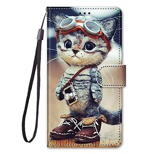 Nodigo für Samsung Galaxy J3 2017 Leder Hülle Magnetisch Kickstand mit Kartenfach 360 Grad Tier Muster Motiv Lustig Design Silikon Hüllen Handyhülle Wallet Tasche Hülle Mädchen Damen - Katze