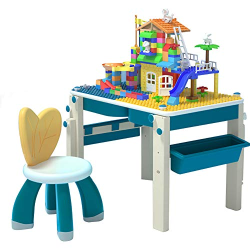 Children's Furniture 6 in 1 Building Game Table, Multifunctional Floor-Standing Drawing Board and Building Block Wall, Desk Dining Table Compatible with Learning Painting