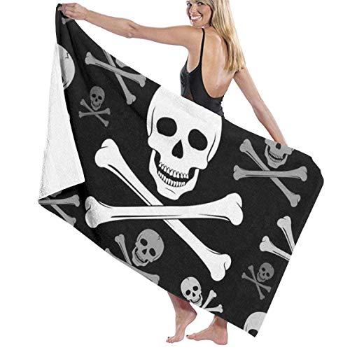 qinzuisp Beach Towel Pirate Skull Toalla De Playa Ligera Piscina Navideña Impreso Acogedor Microfibra Absorbente Camping Secado Rápido 80X130Cm Gimnasio Al Aire Libre Yoga Viajes