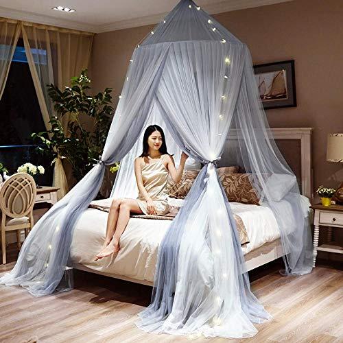 Round Hung Dome Moskitonetz Feinmaschige Moskitonetze Für Doppelbett Moskitonetz Für Babybett Baldachin Netz Zelt Schlafzimmer Dekor-Grauweiß Mit Lampe 1.35 M (4.5 Fuß) Bett