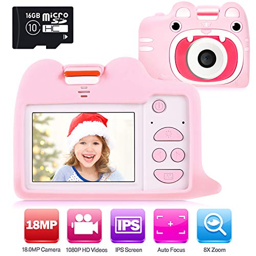 """Ohuhu Kids Camera Toy with 2 Silicone Case, Girls Boys Camera with 16GB SD Card, 1080P HD 18.0MP Digital Video Camera Recorder Camcorder for Children Birthday Valentine Gifts, 2"""" IPS Screen for 3+"""