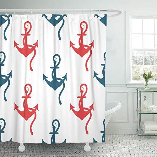 Navy Rope Große Sammlung von Ankern Doodle Marine Bunt mit Skizze Blau Aqua Duschvorhang Wasserdichtes Polyester Mit Haken-B180xH200cm