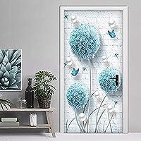ドアステッカー ドアステッカー3Dステレオブルータンポポジュエリーの壁紙リビングルームのベッドルームのホームインテリアPVCの自己接着防水ドアデカール (Size : 95x215cm)-77x200cm