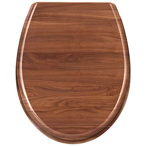 WEIERR WC Sitz Toilettendeckel Absenkautomatik mit Absenkautomatik/Softclose, Universal Größe Toilettensitz aus Hartplastik Antibakteriell Klodeckel aus Duroplast, 25 Bilder zur Auswahl (Holzoptik)