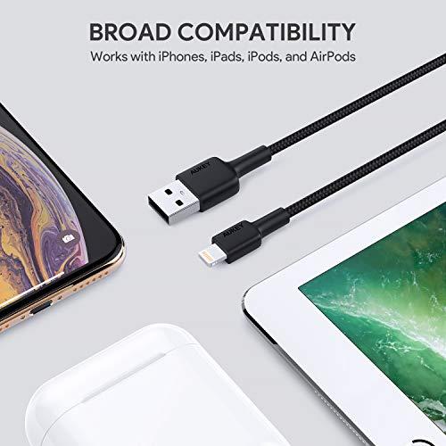 AUKEY Cavo Lightning 1m [Apple MFi Certificato] Cavo iPhone Trasmissione Dati e Ricarica per iPhone X / 8/8 Plus / 7/7 Plus / 6s / 6/6 Plus, iPad e Altri dispositivi Apple - Bianco