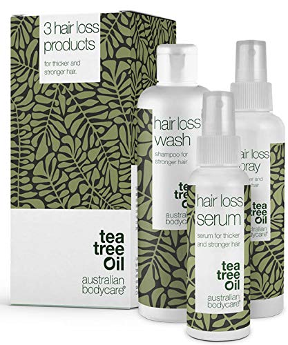 The Hair Loss Kit – 3 products Ideal for women and men with hair loss problems | Inside the kit: Hair loss Serum 150ml, Hair loss shampoo 250ml and Hair loss spray 150ml from Australian Bodycare