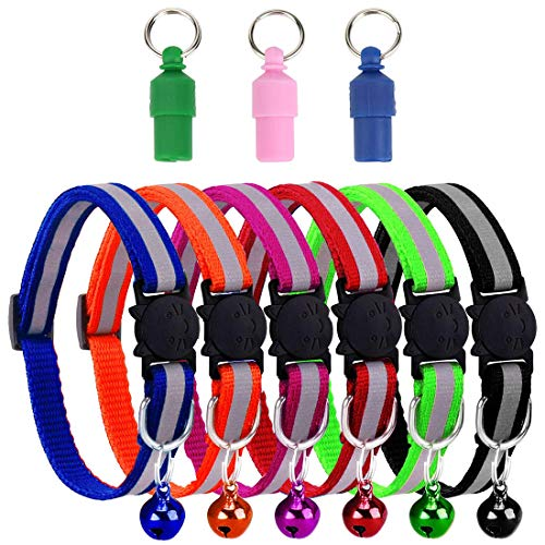 Nice2U 9 Stück Katzenhalsband mit Glöckchen, Sicherheitsschnalle, Reflektierend, Fluoreszierend, Schnellverschluss, Verstellbar, für Die Meisten Hauskatzen Welpen