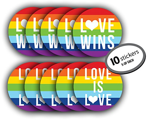 Gay Lesbian Marriage PRIDE Sticker - 10 Pack (5 Love Wins & 5 Love is Love). LARGE 5 inches. Use on car bumper, computer, as wall decorations, or give as a gift. Rainbow Flag for LGBT, LGBTQ rights.