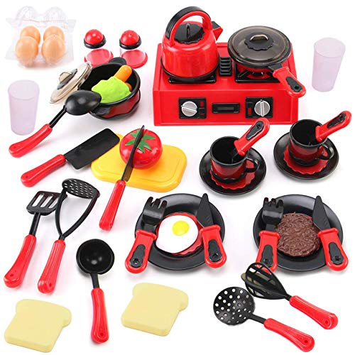 Liberty Imports 44 Pieces Mini Breakfast Stove Top Kitchen Appliances Playset with Play Food, Tools and Utensils - Pretend Play Cookware Toys for Toddlers and Kids