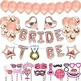 🎁 Set de accesorios para decoraciones de fiesta de gallina:  9 piezas Foil BRIDE TO BE Banner Balloons (16 pulgadas); 10 piezas de globos de oro rosa (12 pulgadas); 5 piezas de globos de confeti de oro rosa (12 pulgadas); 2 piezas de globos de coraz...