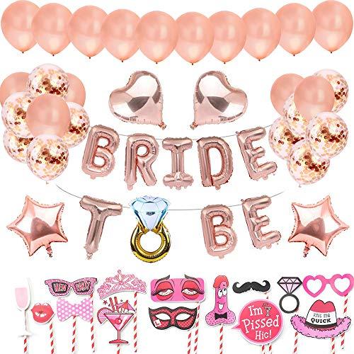 JGA Deko Luftballons Set mit Bride to Be Deko Girlande,Latex Ballons in Roségold, konfetti Luftballons, Foto Booth Props für Tochter Mädchen Abschied Verlobung Party. Junggesellinnenabschied Deko