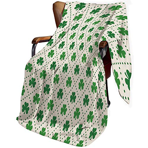 SfeatrutMAT Flannel Microfiber Throw Blanket,Irish,Four Leaf Shamrock Clover Flowers with Dotted Dashed Lines National Culture Symbol Decorative,Blanket for Baby 30x40inch