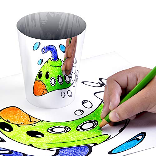 Laser Classroom All Morphed Up - 3D Anamorphic Art Kit for Kids and Steam Education That Includes Grid Coloring Pages for Drawing Optical Illusions