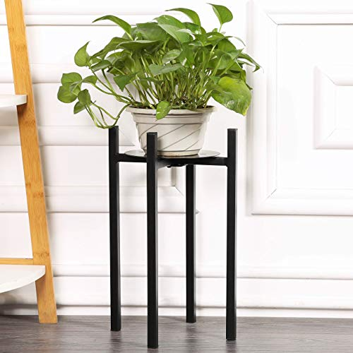 "Sunnyglade Plant Stand Metal Potted Plant Holder Sturdy, Galvanized Steel Pot Stand with Stylish Mid-Century Design, Medium for Indoor, Outdoor House, Garden & Patio (15"" High)"
