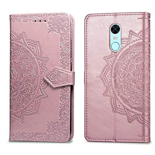 Bear Village Hülle für Xiaomi Redmi 5 Plus, PU Lederhülle Handyhülle für Xiaomi Redmi 5 Plus, Brieftasche Kratzfestes Magnet Handytasche mit Kartenfach, Roségold