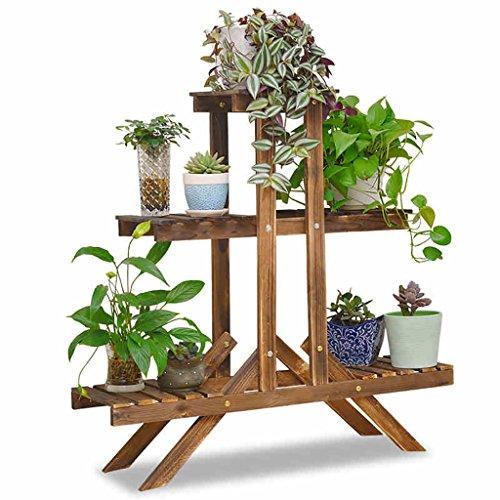 Étagères en bois massif étagères étagères étagères étagères anti-corrosion étagères étagères en plein air carbonisation salon balcon étagère en fleurs (Couleur : Marron, taille : A)