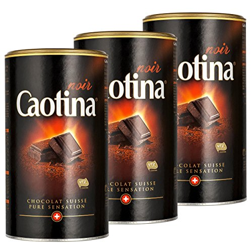 Caotina noir, Kakao Pulver mit dunkler Schweizer Schokolade, heiße Schokolade, Trinkschokolade, 3er Pack, 3 x 500g