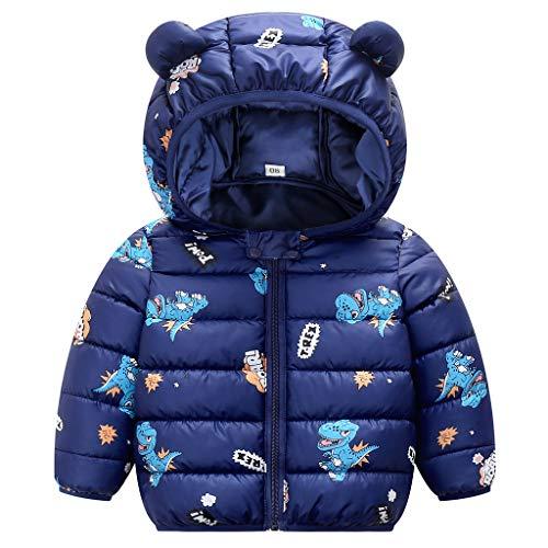 Baby Winterjacke Mantel Kinder Ohr mit Kapuze Jacke Warm Gepolstert Leicht Steppjacke Jungen Mädchen Outfits Blau 2-3 Jahre