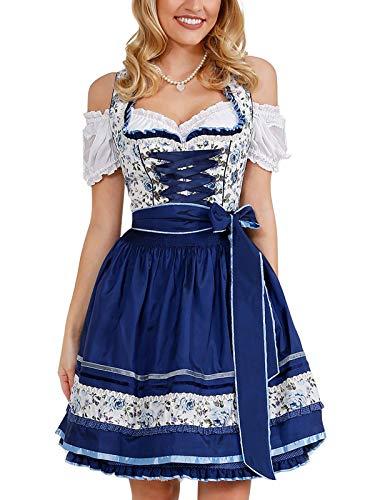 Krüger Damen Trachten Dirndl kurz, Modell: Blue Roses, über Knie, Art.-Nr. 041035-0-0008, 38, blau