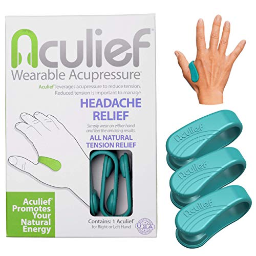 Aculief - Award Winning Natural Headache, Migraine, Tension Relief Wearable – Supporting Acupressure Relaxation, Stress Alleviation, Soothing Muscle Pain - Simple, Easy, Effective 3 Pack - (Teal)