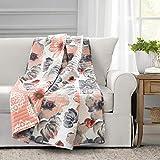 Lush Decor Leah Throw Blanket, 60' x 50', Coral & Gray