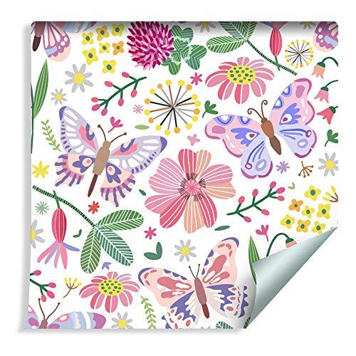 Muralo Tapete Für Kinder - Schmetterlinge auf der Wiese Vlies für Mädchen Insekten Fauna und Flora - 213013622