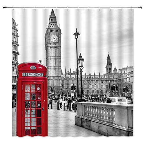 London Shower Curtain Red Telephone Booth Retro Romantic City Scenery Old Street Big Ben Vintage Building Picture Decor Fabric Bathroom Curtain 70X70 Inch with Hooks
