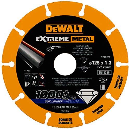 DeWalt DT40252-QZ DT40252-QZ-Disco de Corte con Borde diamantado Extreme Metal 125x1.3x22.3 mm, Negro/Amarillo