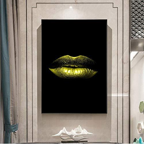 QWESFX Abstrakte sexy Lippen Leinwandbilder Home Wand dekorative Leinwanddrucke Moderne Pop-Art Lippen Wandbilder für Wohnzimmer Cuadros (Druck ohne Rahmen) A5 60x120CM