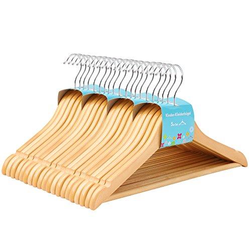 SONGMICS Kinderkleiderbügel aus Massivholz, 20 Stück, Holzbügel für Kinder mit rutschfestem Hosensteg und Einkerbungen, um 360° drehbarer Haken, 35 x 1,2 x 20 cm, naturfarben CRW006-20