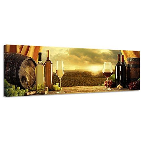 Leinwandbild Leinwand Geruch von Wein Panorama Wand Art Leinwandbild Still Life Vine Field - 118x36cm