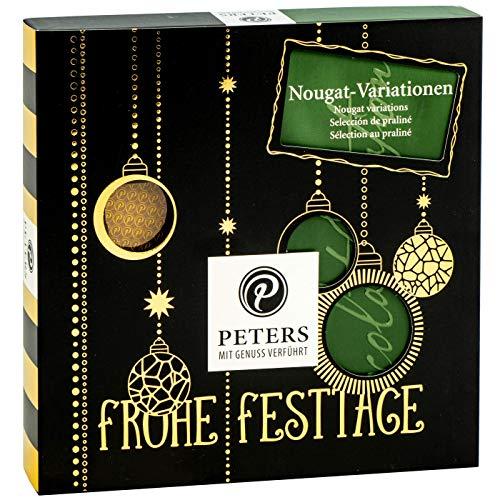 """PETERS \""""Frohe Festtage\"""" Nougat Variationen - 200g weihnachtliche Nougat Pralinen ohne Alkohol   zum Verschenken für Kinder und Erwachsene"""